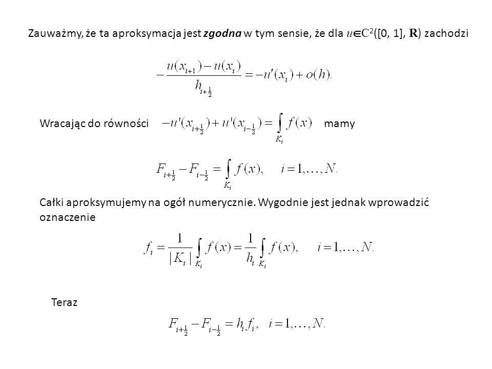 Zauważmy, że ta aproksymacja jest zgodna w tym sensie, że dla uC2([0, 1], R) zachodzi